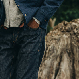 fit model wearing The Democratic Jean in Cone Mills Reserve Selvage, hand in pocket