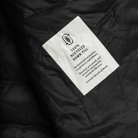 material shot of logo inside jacket