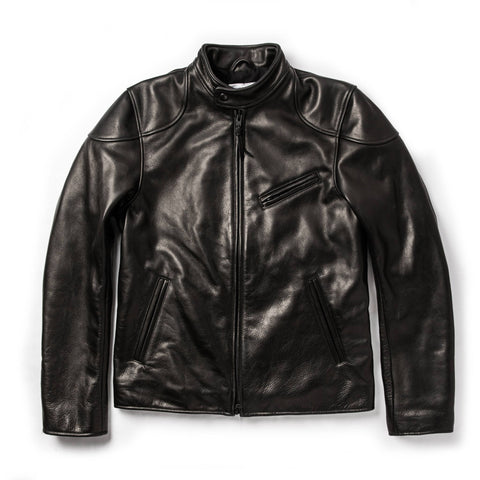 The Band Collar Moto Jacket in Black Steerhide - featured image