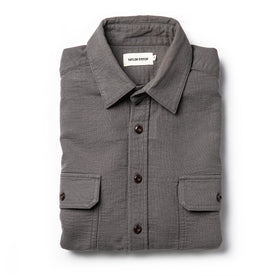 flatlay of The Corso Shirt in Charcoal Double Cloth from the front folded up