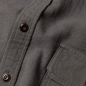material shot of The Corso Shirt in Indigo Double Cloth with close up of placket and front chest pocket