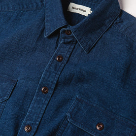 material shot of The Corso Shirt in Indigo Double Cloth from the front showing placket, collar, and chest pockets