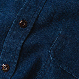 material shot of The Corso Shirt in Indigo Double Cloth close up of the placket with buttons and chest pocket