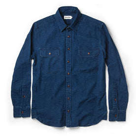 flatlay of The Corso Shirt in Indigo Double Cloth from the front with sleeves unfolded and visible