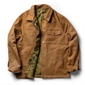 The Taylor Stitch x Gear Patrol Reversible Lombardi Jacket in Arid Camo - featured image