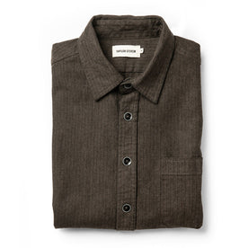 The Mechanic Shirt in Dark Olive Herringbone: Featured Image