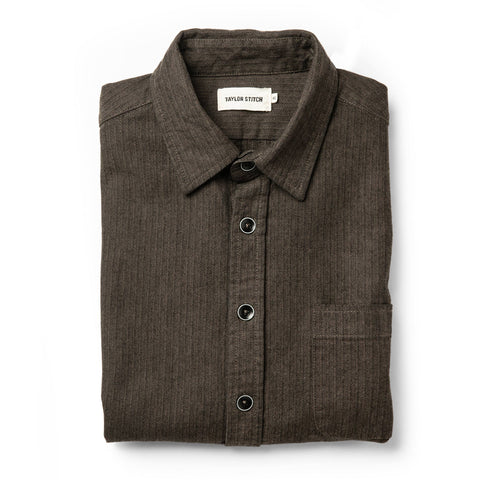 The Mechanic Shirt in Dark Olive Herringbone - featured image
