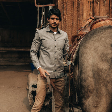 The Mechanic Shirt in Slate Herringbone - alternate view
