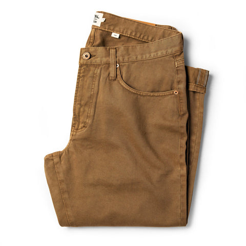 The Slim All Day Pant in Rustic Oak Organic Selvage - featured image