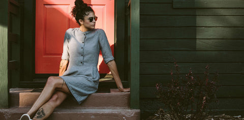 The Juniper Dress in Charcoal Brushed Melange
