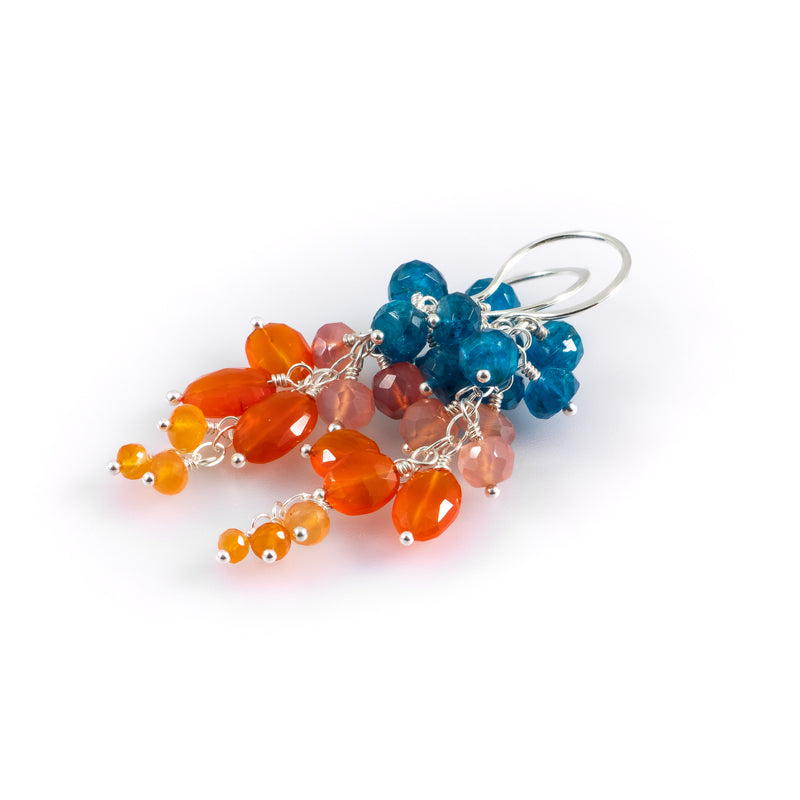 Tangelo-Aqua Cluster Earrings