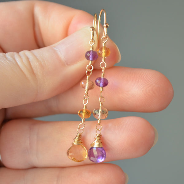 Mismatched Earrings with Citrine and Amethyst