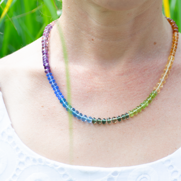 Hand-knotted rainbow necklace
