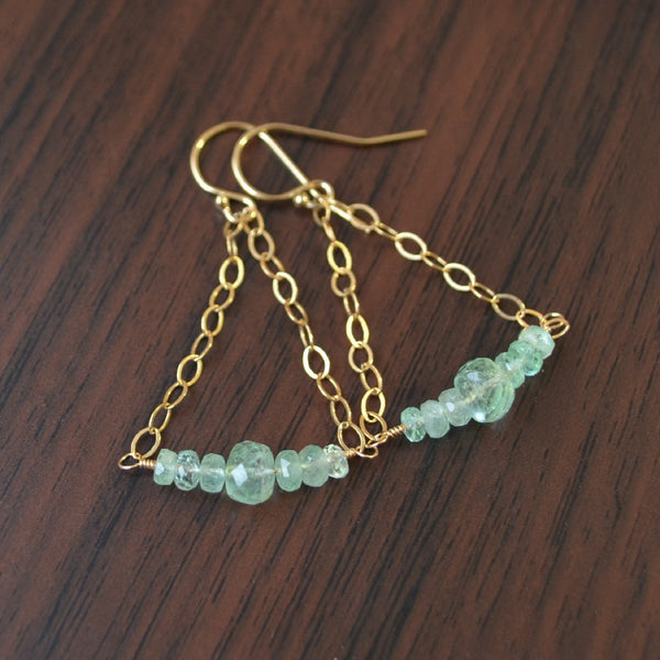Genuine Emerald Earrings in Gold