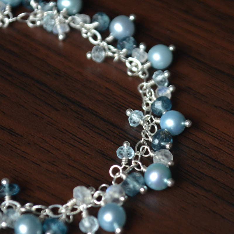Blue Cluster Bracelet with Pearls Moonstone and Moss Kyanite