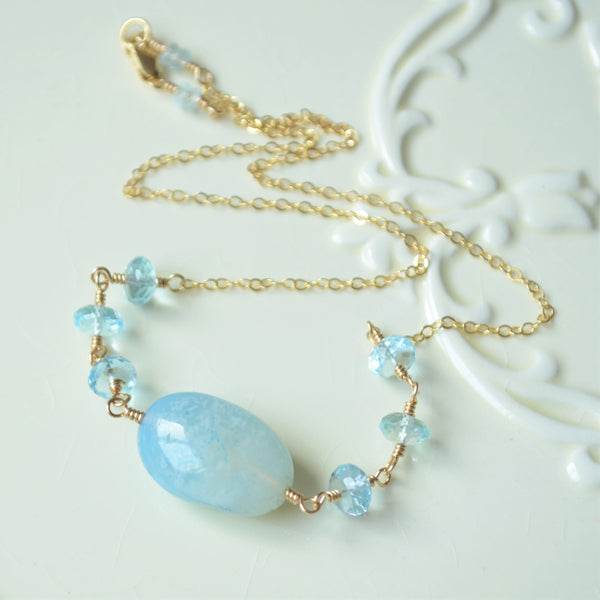 Blue Topaz and Agate Candy Necklace in Gold