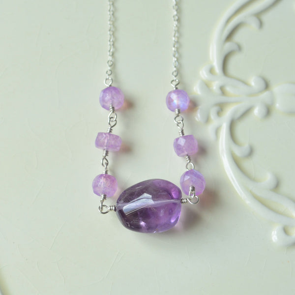 Amethyst and Lavender Moonstone Candy Necklace in Silver