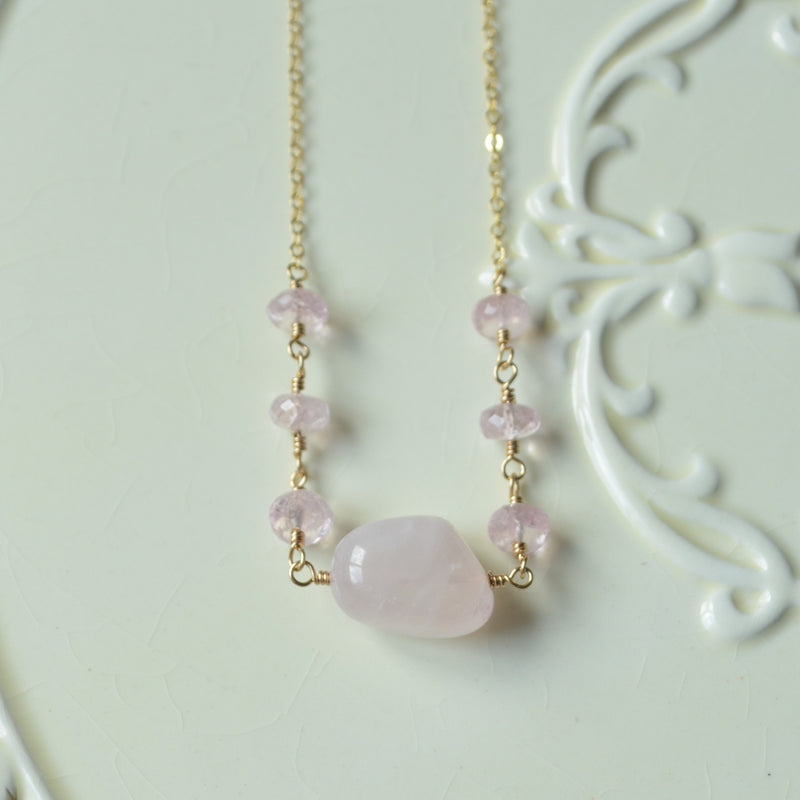 Rose Quartz and Morganite Candy Necklace in Gold
