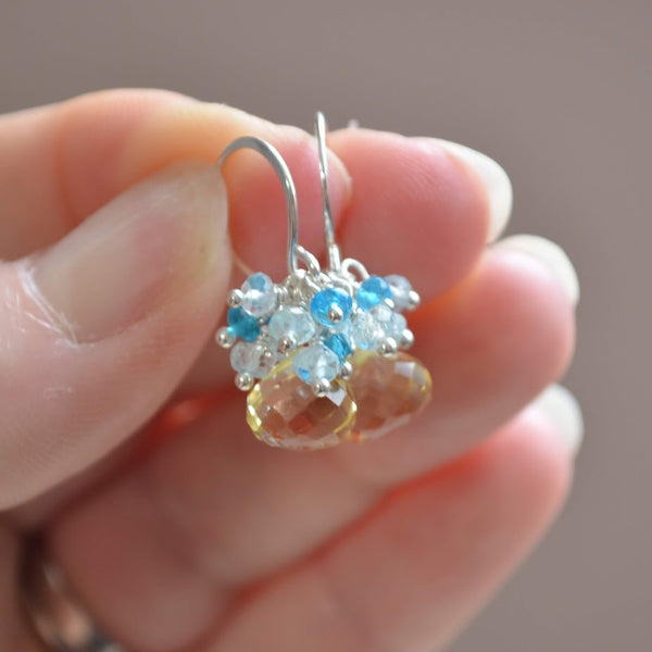 Lemon Quartz Earrings with Aquamarine and Apatite