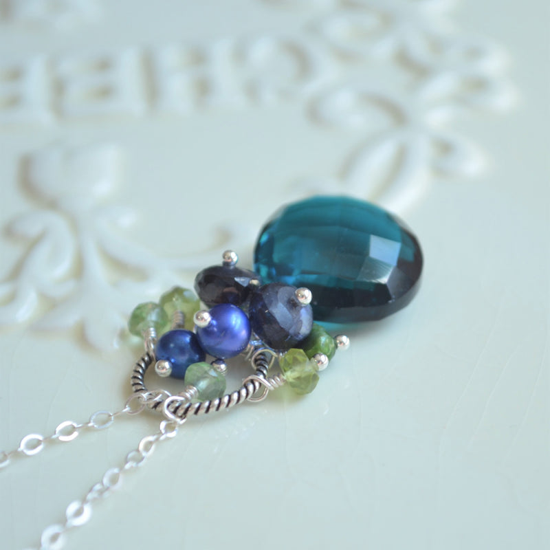 Teal Quartz Necklace with Peridot Pearl and Kyanite Cluster