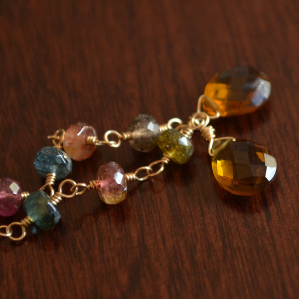 Long Tourmaline Earrings with Caramel Quartz