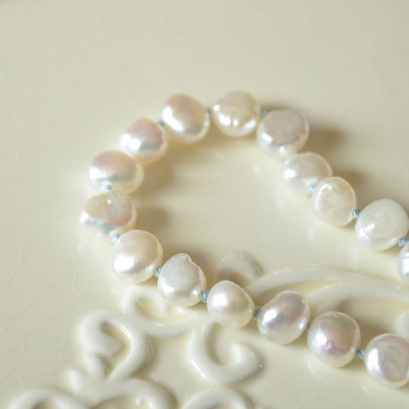 White Pearl Hand Knotted Bracelet