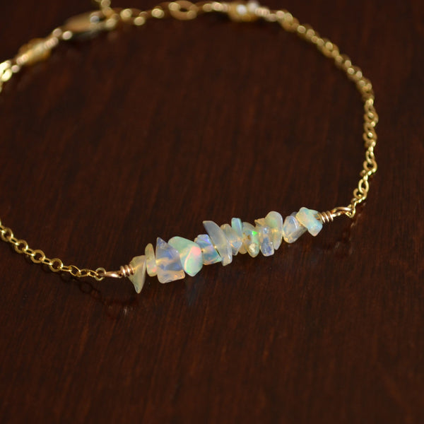 Opal Bracelet with Gemstone Chips in Gold
