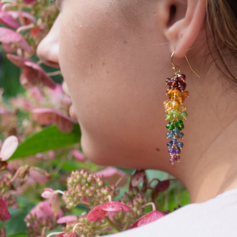 Waterfall style rainbow earrings