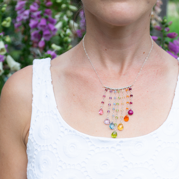 Rainbow fringe necklace