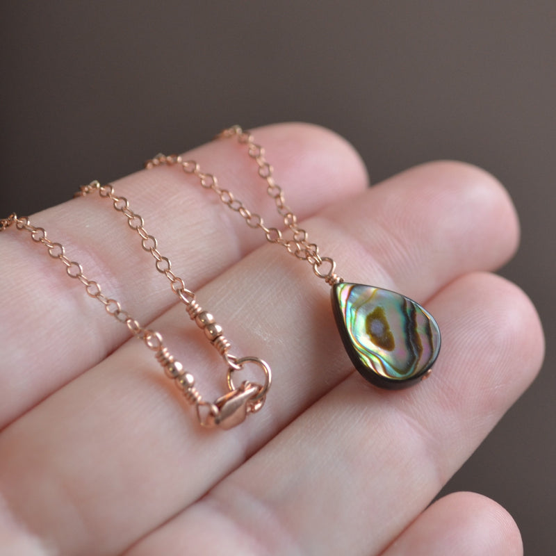 Abalone Shell Choker Necklace in Rose Gold
