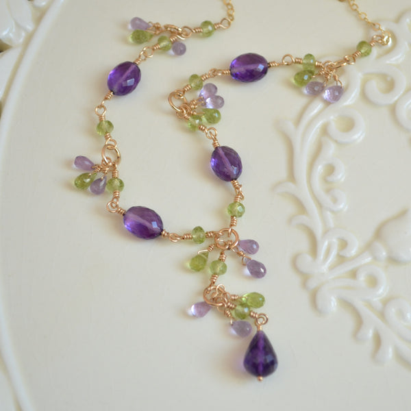 Amethyst and Peridot Necklace in Yellow Gold