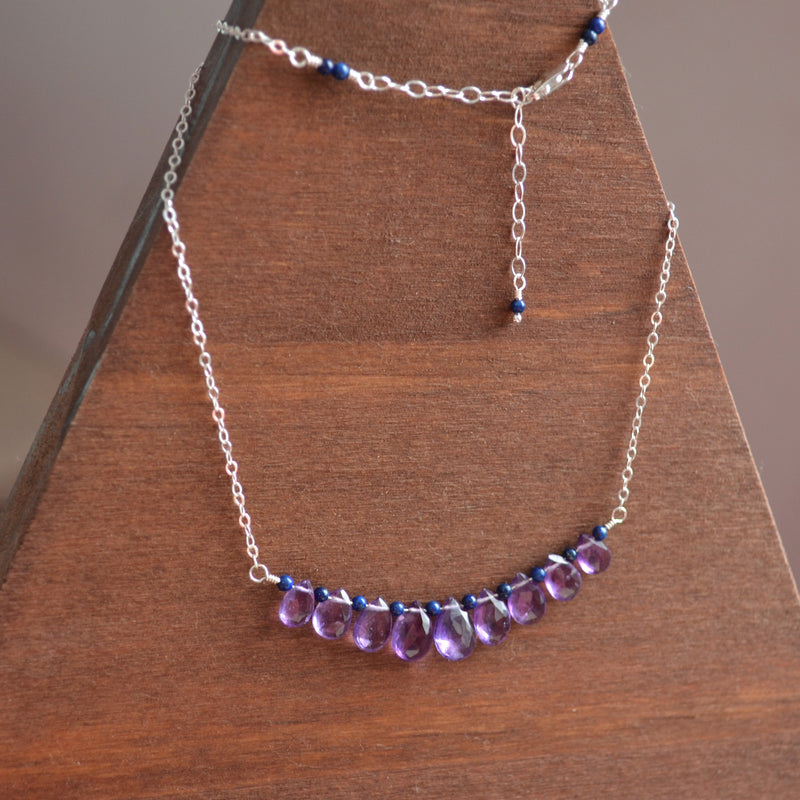 Amethyst Necklace with Lapis Lazuli