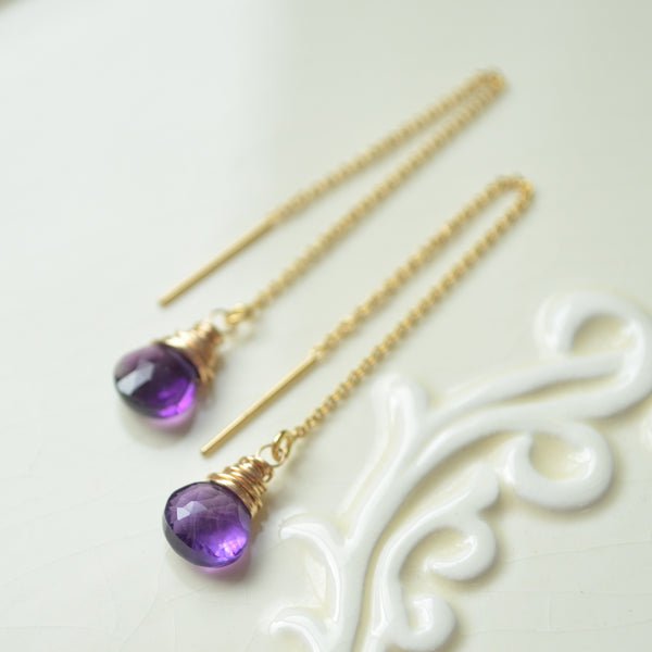 Dainty Amethyst Threader Earrings in Gold