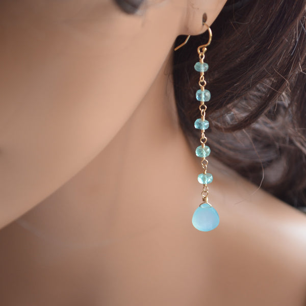 Long Aqua Earrings with Apatite and Chalcedony