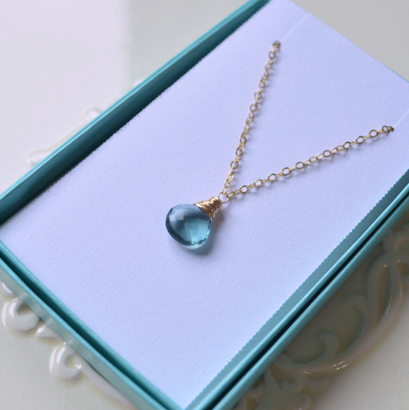 Aqua Fluorite Necklace Wrapped in Gold