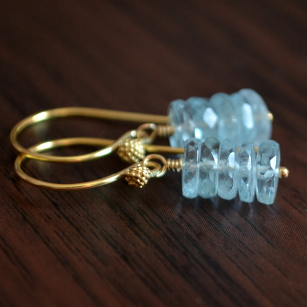 Aquamarine Drop Earrings in Gold