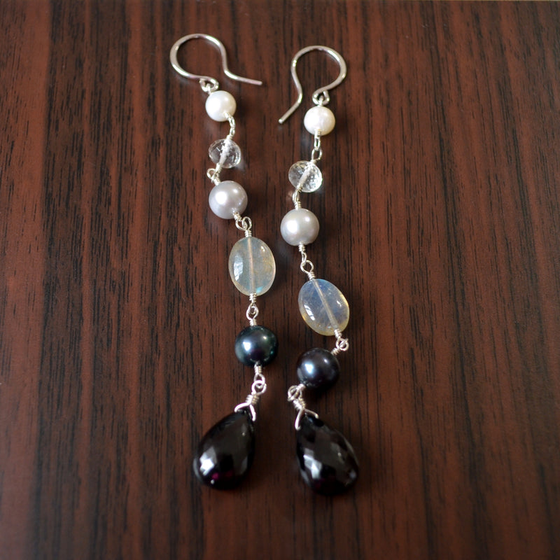 Long Gemstone Earrings with Black Spinel and Pearls
