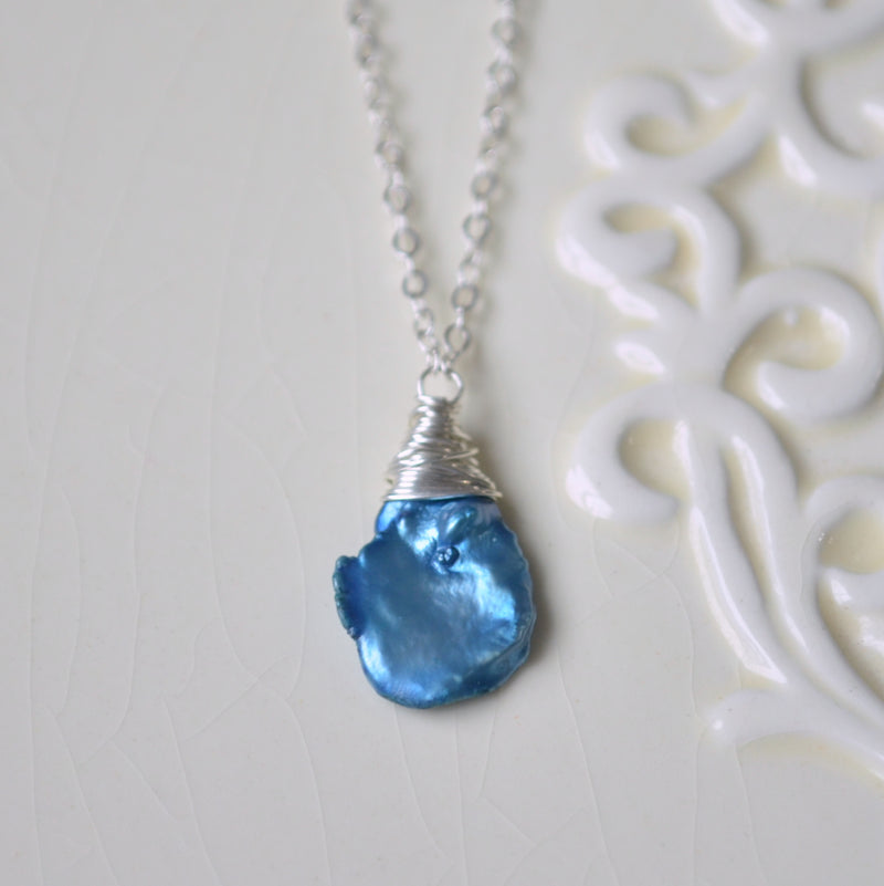 Royal Blue Keshi Pearl Necklace in Silver