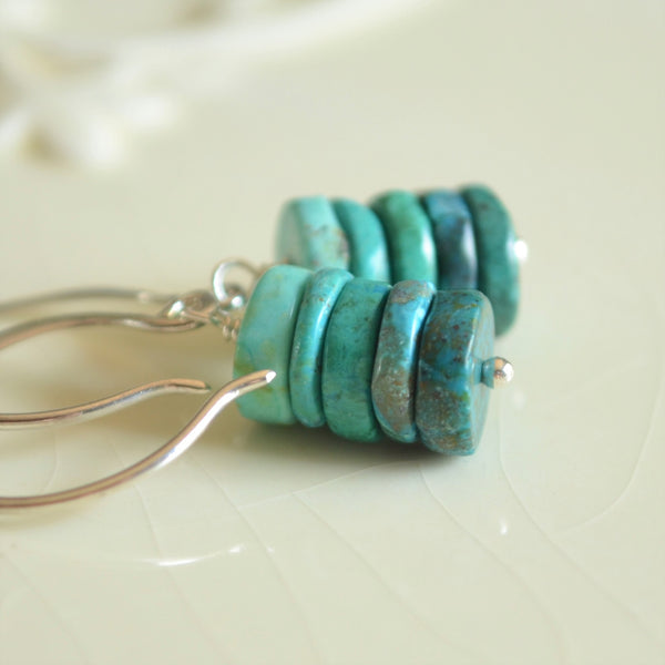Turquoise Chrysocolla Earrings in Sterling Silver