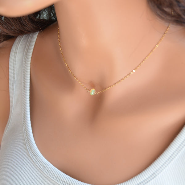 Simple Opal Choker Necklace in Gold or Silver