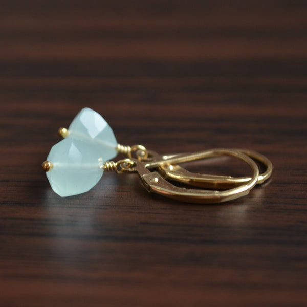 Aqua Chalcedony Drop Earrings in Gold