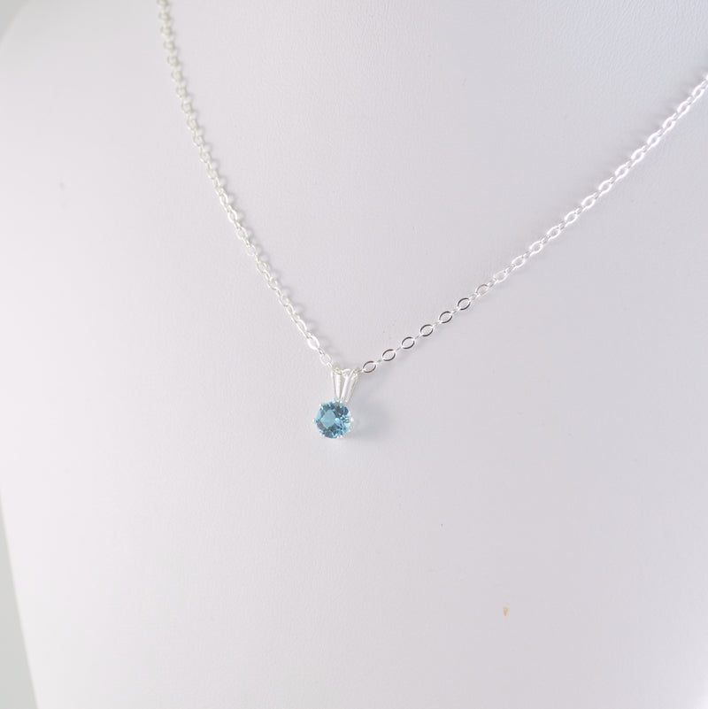 Genuine Blue Topaz Necklace for Girls