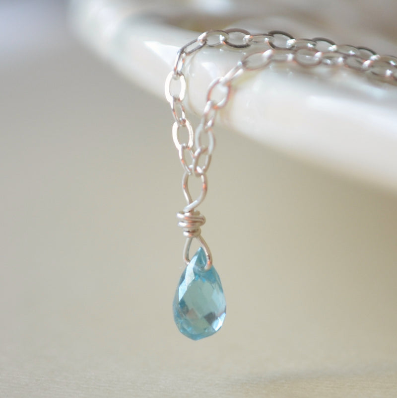 Real Blue Zircon Necklace for Child