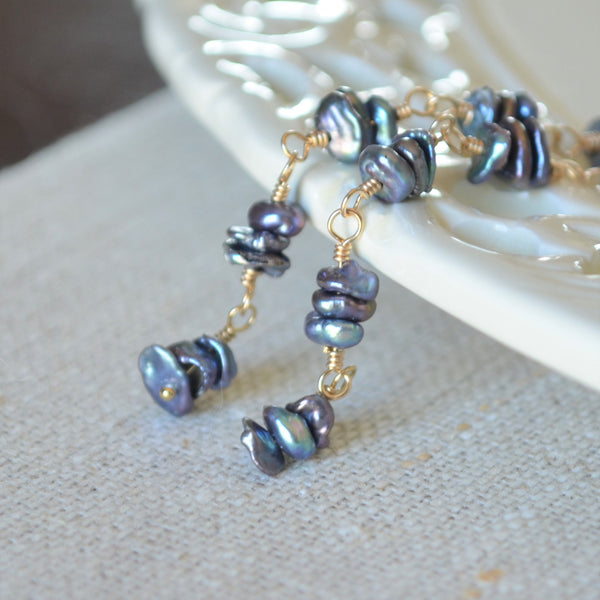 Long Indigo Blue Pearl Earrings in Gold