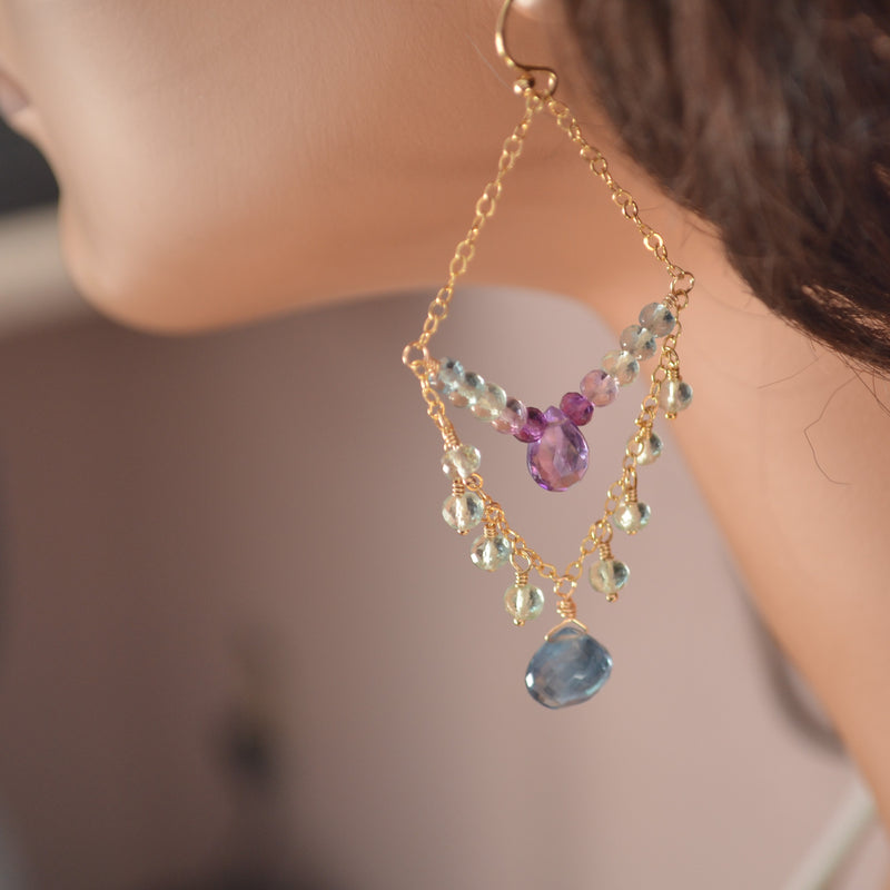 Amethyst and Fluorite Chandelier Earrings in Gold