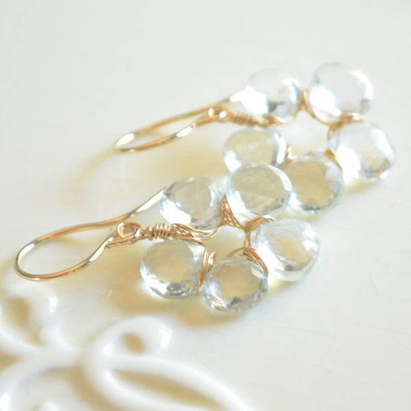 Crystal Quartz Flower Earrings in Gold