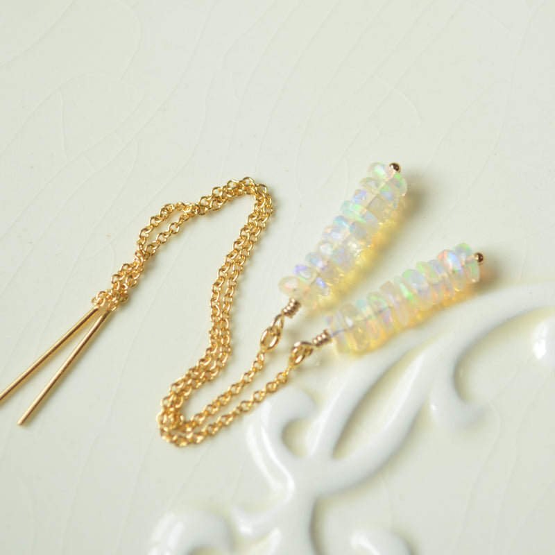 Real Opal Threader Earrings in Gold