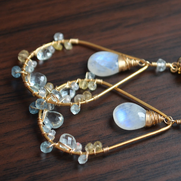 Moonstone and Aquamarine Earrings in Gold