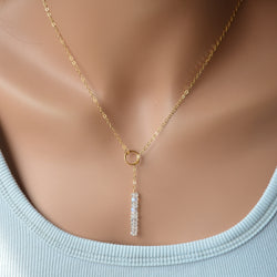 Moonstone Lariat Necklace in Gold