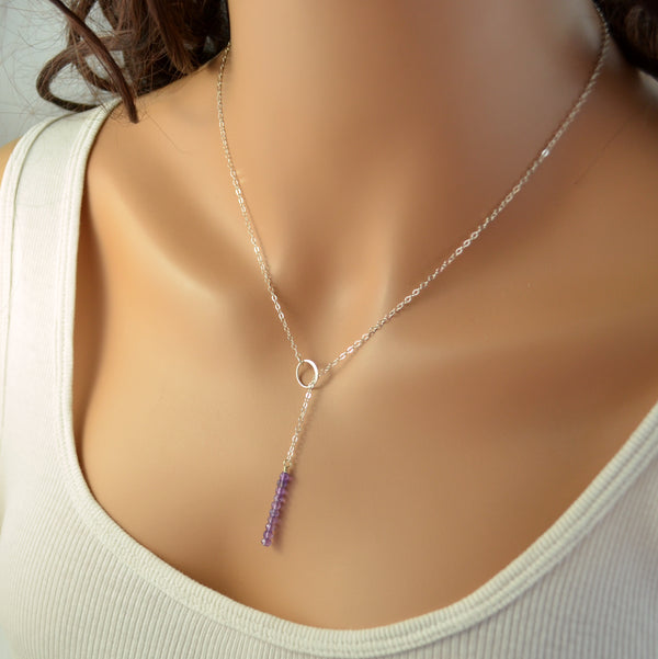 Amethyst Lariat Necklace in Sterling Silver